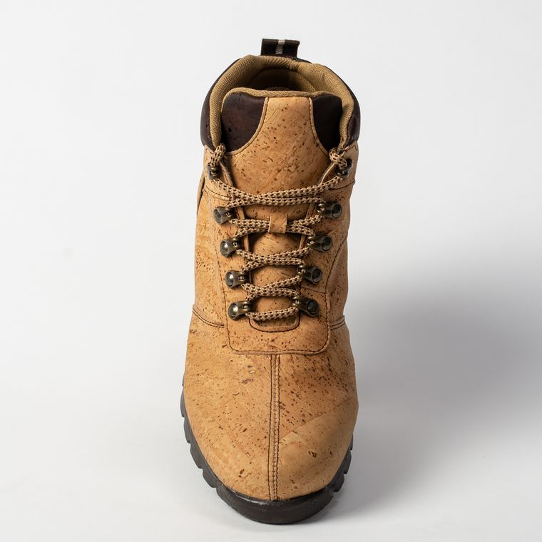 Women's Natural and Brown Cork Boot-Leather Interior