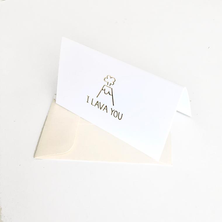 I Lava You Gold Foil Mini Card Set of 10