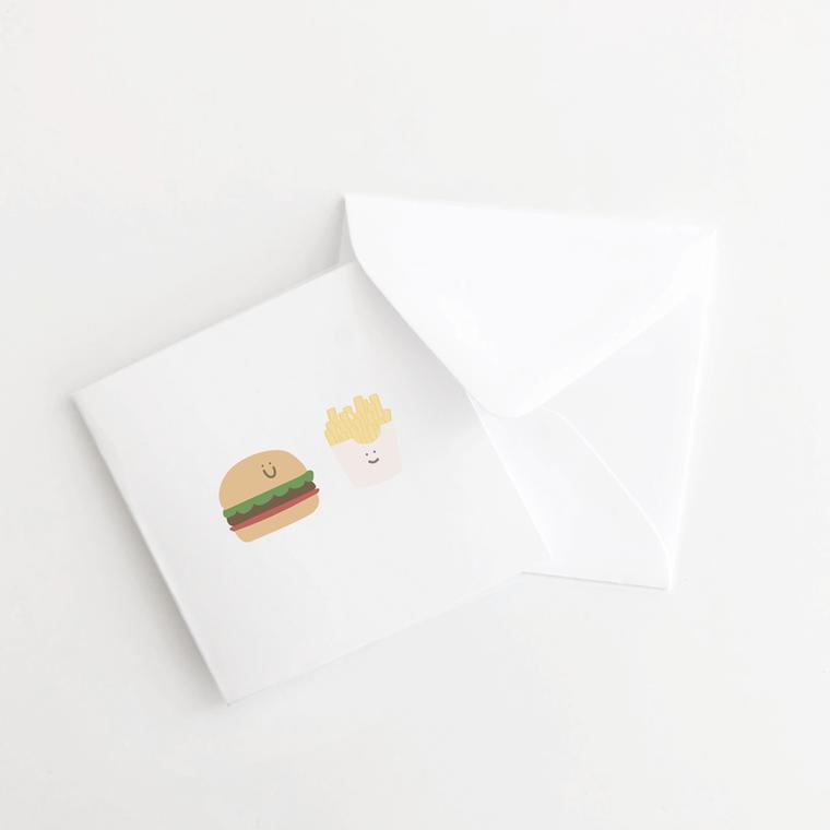 Burger and Fries Mini Card Set of 10