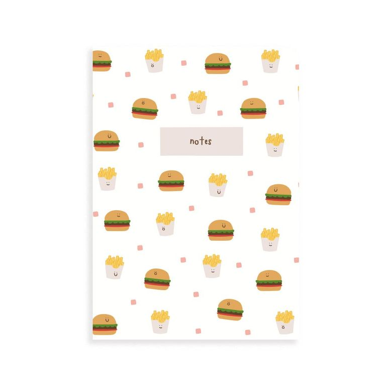 Burger and Fries Pocket Grid Notebook