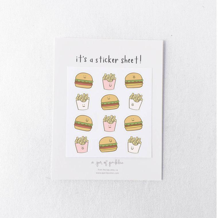 Burger and Fries Mini Sticker Sheet