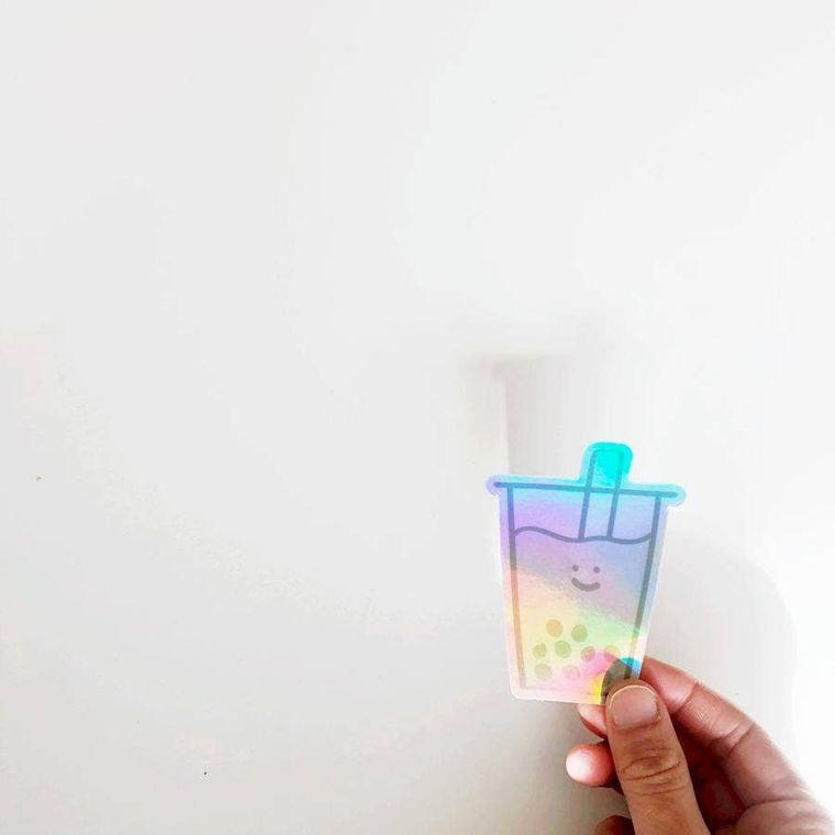Holographic Boba Sticker