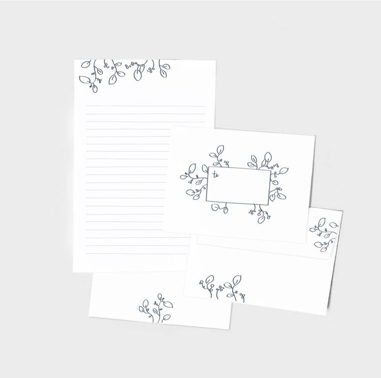 Floral Letter Writing - Set of 10