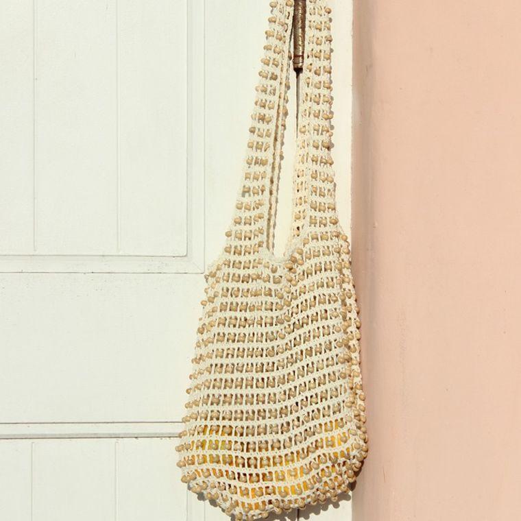 Karma Wooden Beads Bag, Crochet Bag - Natural White (1-3 days)