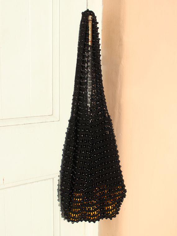 Karma Wooden Beads Bag, Crochet Bag - Black (1-3 days)