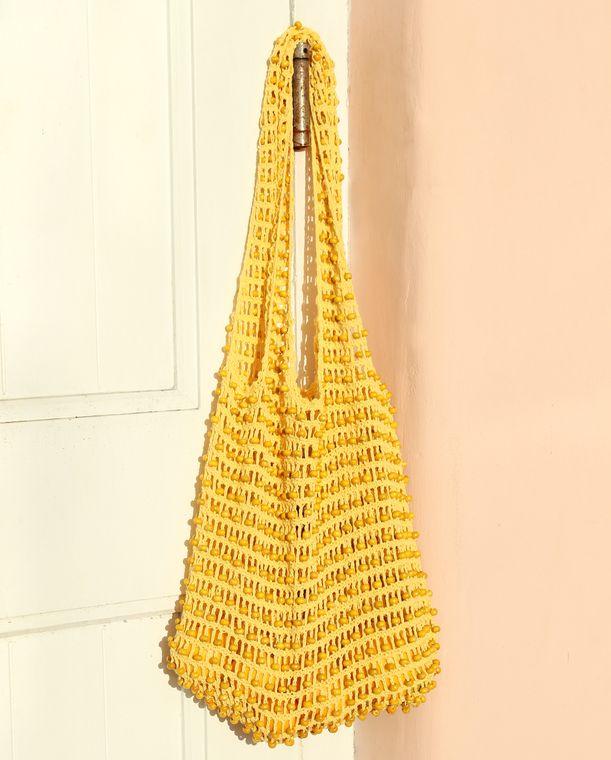 Karma Wooden Beads Bag, Crochet Bag - Pale Yellow (Pre-order)