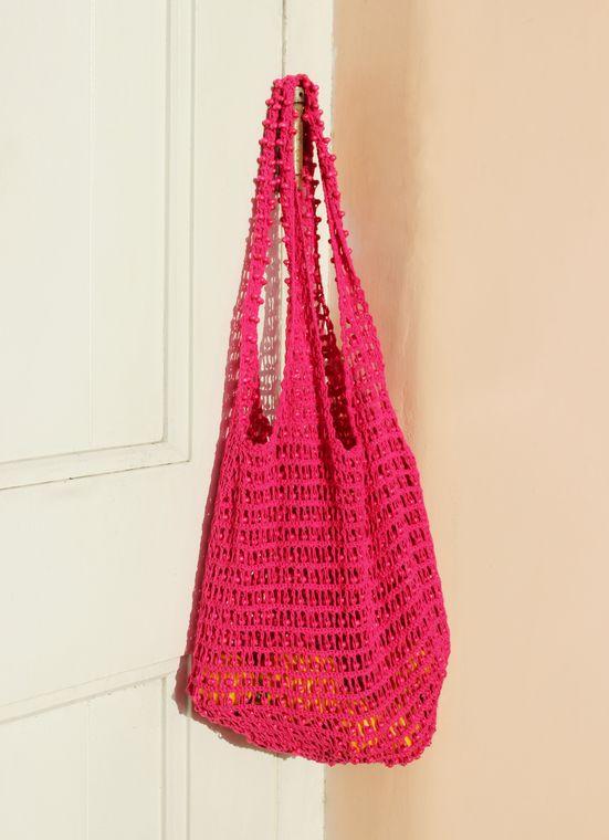 Karma Wooden Beads Bag, Crochet bag -  Pink (1-3 days)