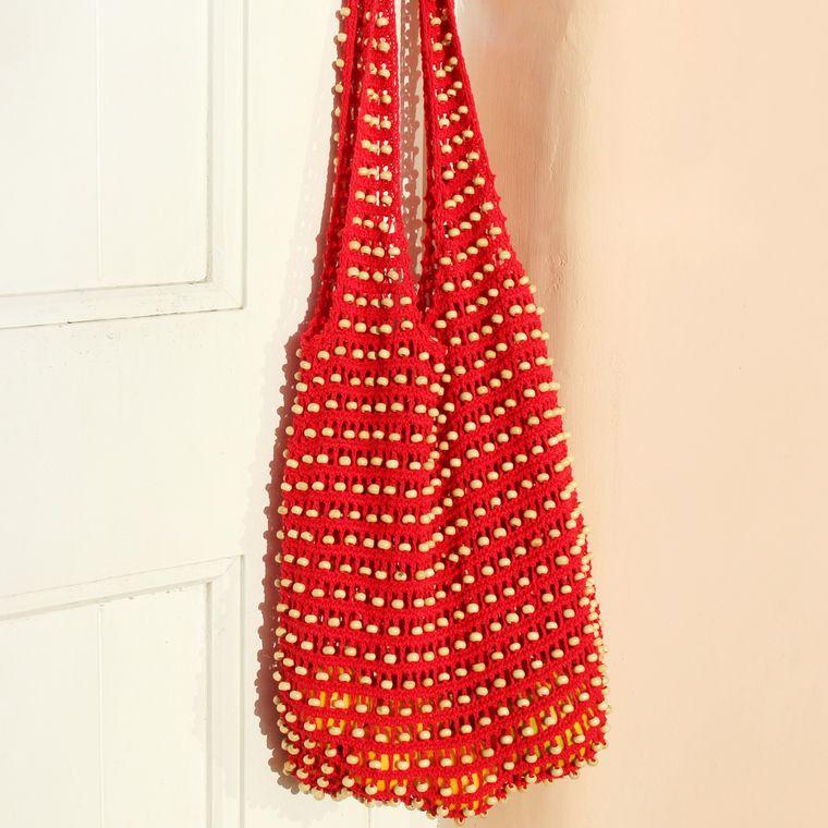 Karma Wooden Beads Bag, Crochet Bag - Red (1-3 days)