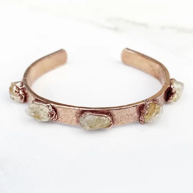 Studded Citrine Cuff Bracelet
