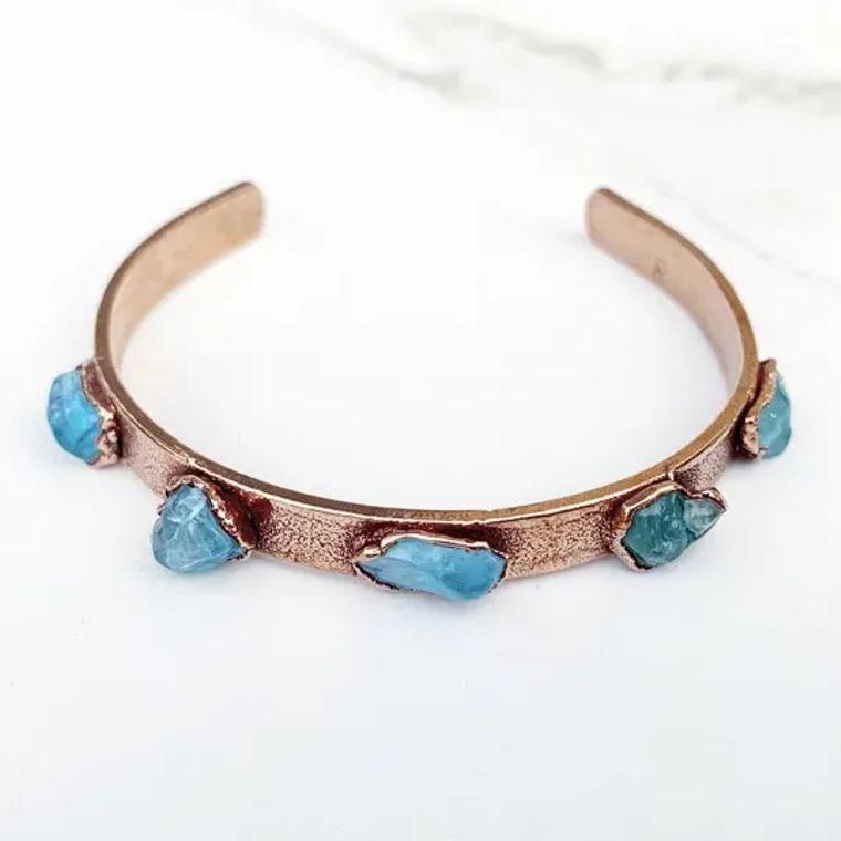 Studded Apatite Cuff Bracelet