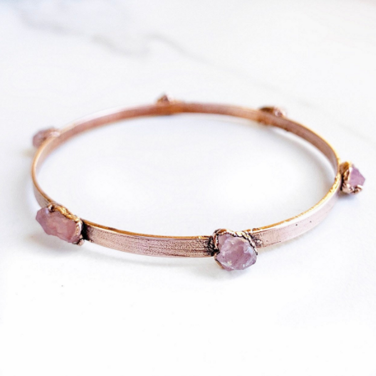 Studded Rose Quartz Bangle Bracelet