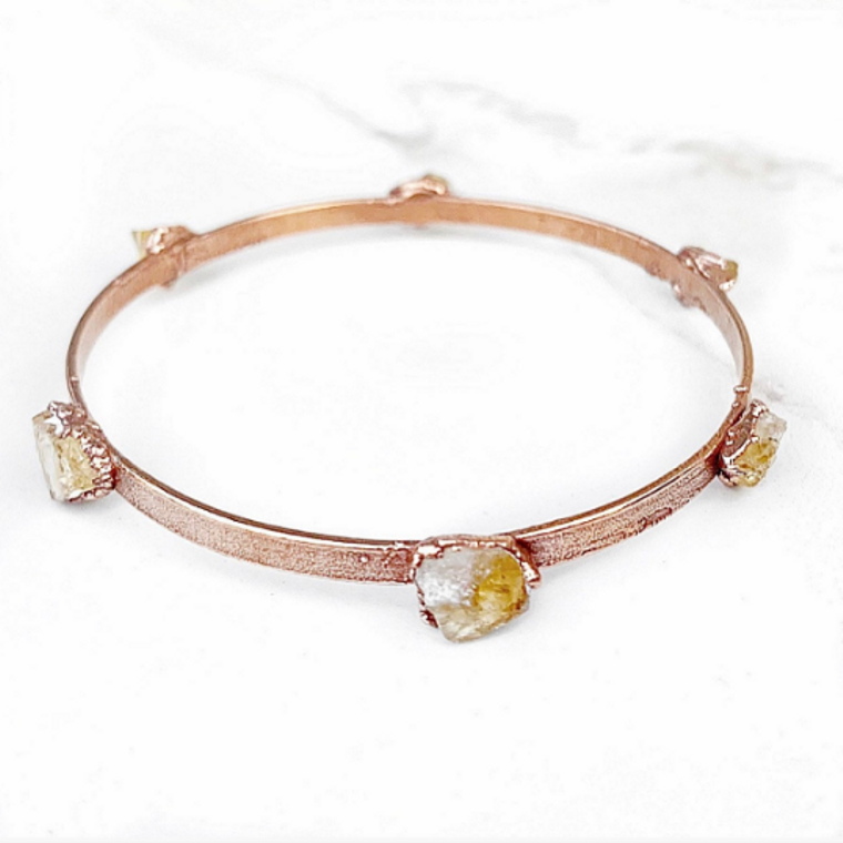 Studded Citrine Bangle Bracelet