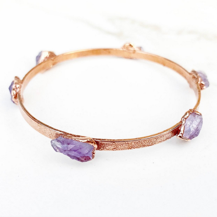 Studded Amethyst Bangle Bracelet