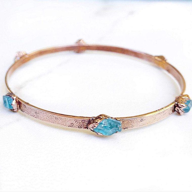 Studded Apatite Bangle Bracelet