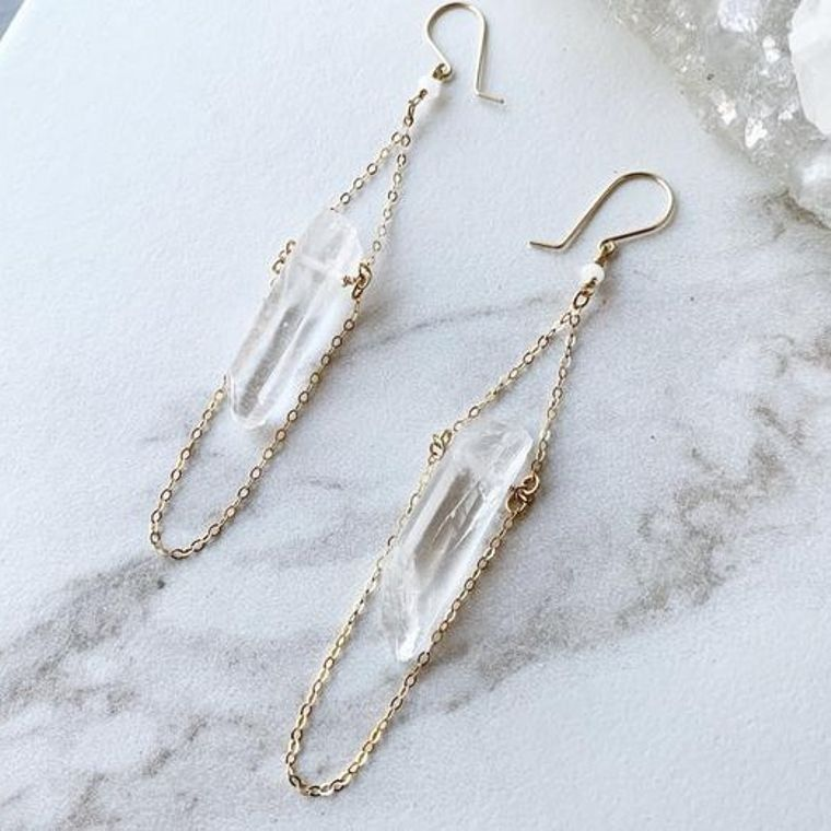 Raw Crystal Quartz Drop Earrings in 14k Gold