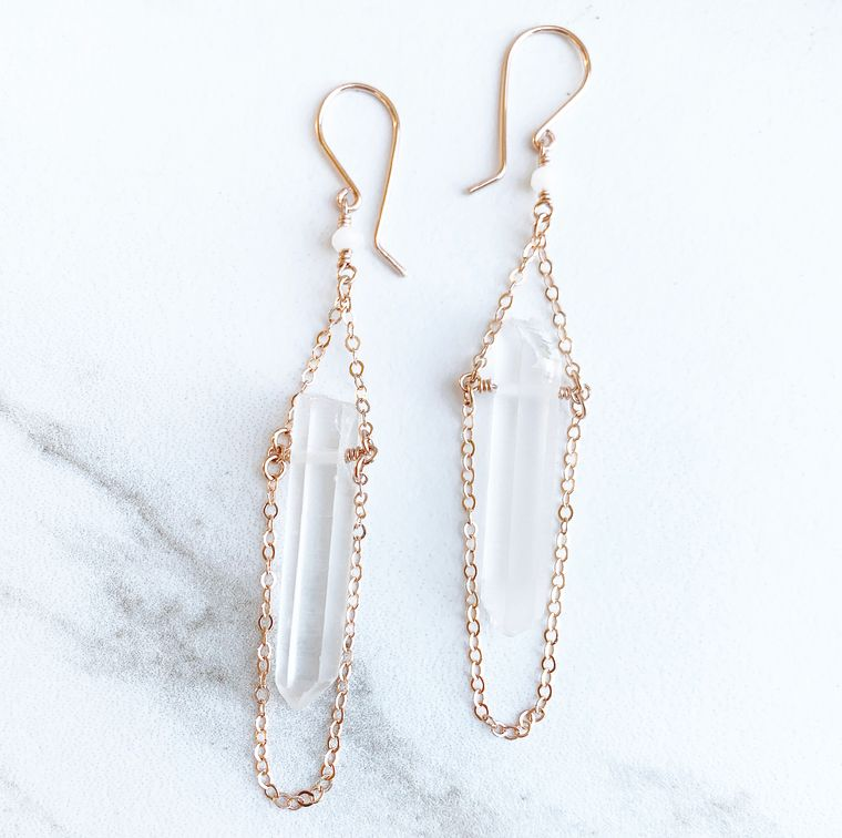 Raw Crystal Quartz Drop Earrings in 14k Rose Gold