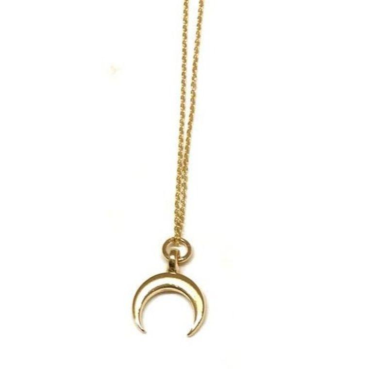 Golden Mini Charm Necklace-Crescent