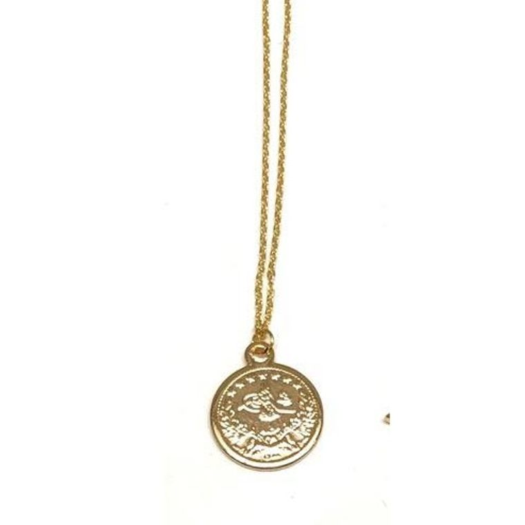 Golden Mini Charm Necklace-Ancient Coin