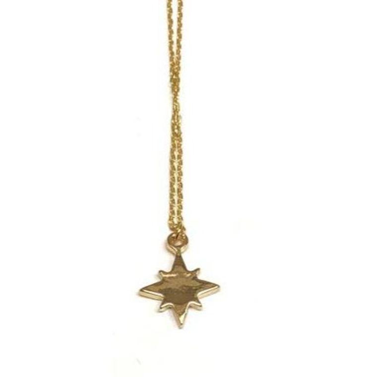 Golden Mini Charm Necklace-Starburst