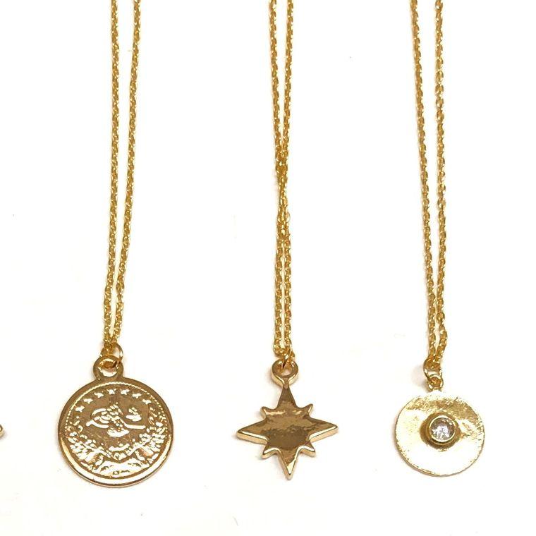 Golden Mini Charm Necklace-Hammered Gem