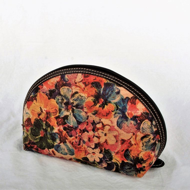 Natural Cork and Leather Floral Cosmetic Bag-Med