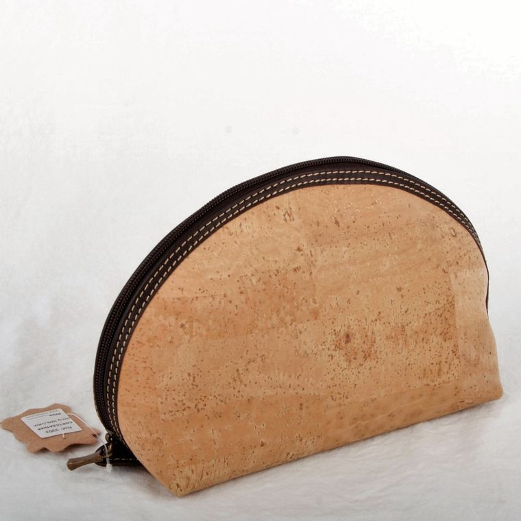Natural Cork and Leather Cosmetic Bag-Sm