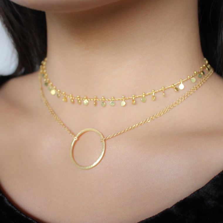 Gold Double Chain Necklace