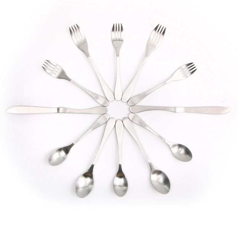 KNORK Matte Original Forged Stainless Steel: 12 Piece + Carry Case