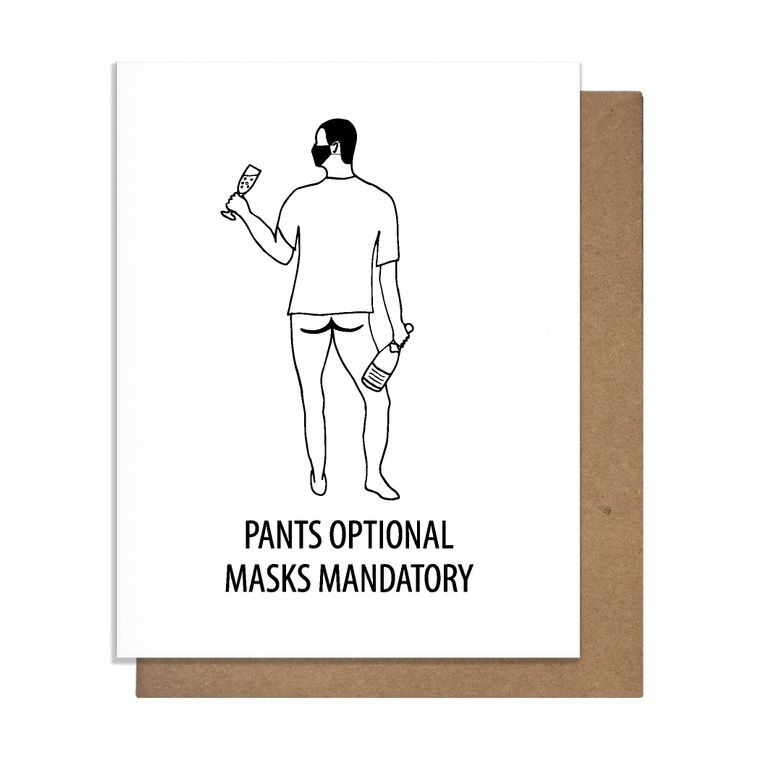 Bottomless Mask Greeting Card