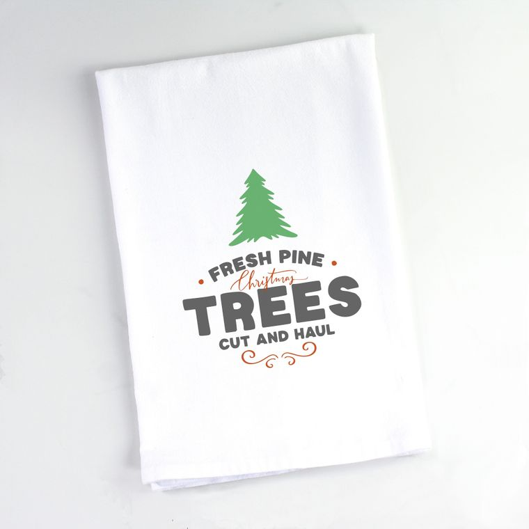 Fresh Cut Christmas Trees Flour Sack Towel
