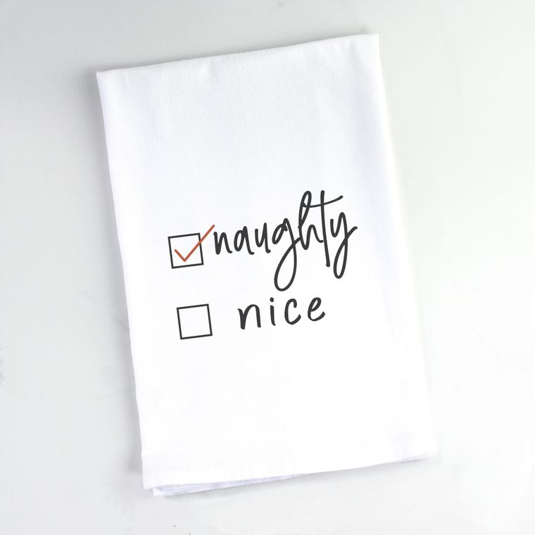 Naughty Nice Reversible Flour Sack Towel