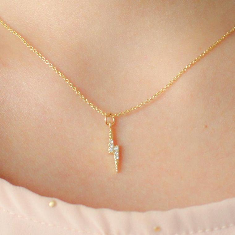 Audrey Lightning Bolt Necklace-Plain Shimmer