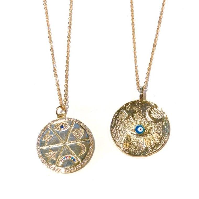 Midlength Free Spirit Necklace-Evil Eye Circle