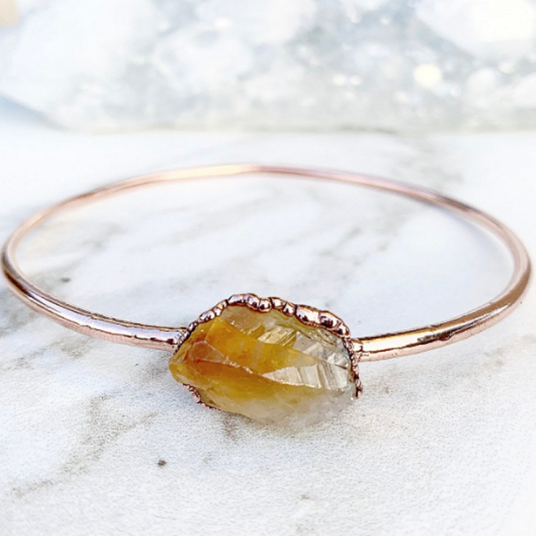 Citrine Nugget Bangle Bracelet