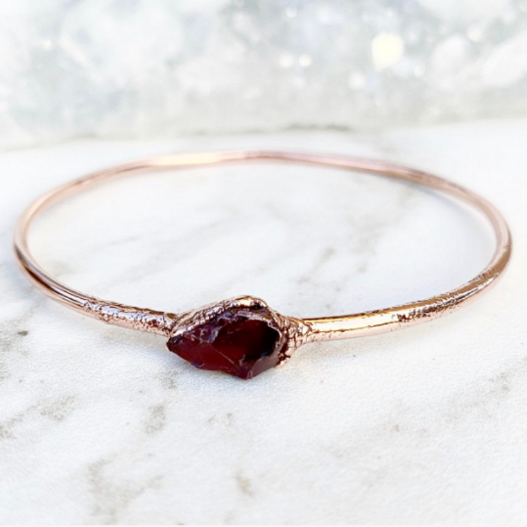 Garnet Nugget Bangle Bracelet