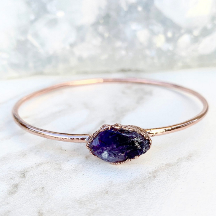 Amethyst Nugget Bangle Bracelet