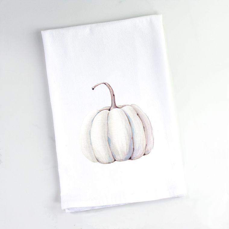 Autumn Watercolor White Pumpkin Flour Sack Towel
