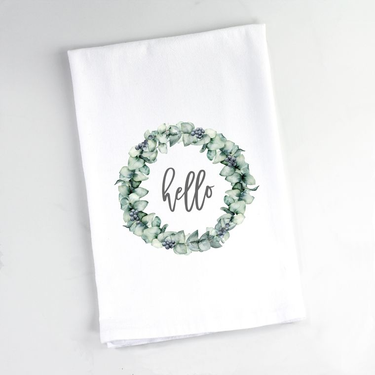 Eucalyptus Wreath Full Hello Flour Sack Towel