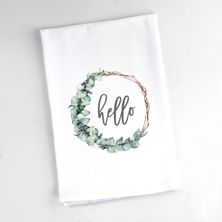 Eucalyptus Branch Wreath Hello Flour Sack Towel