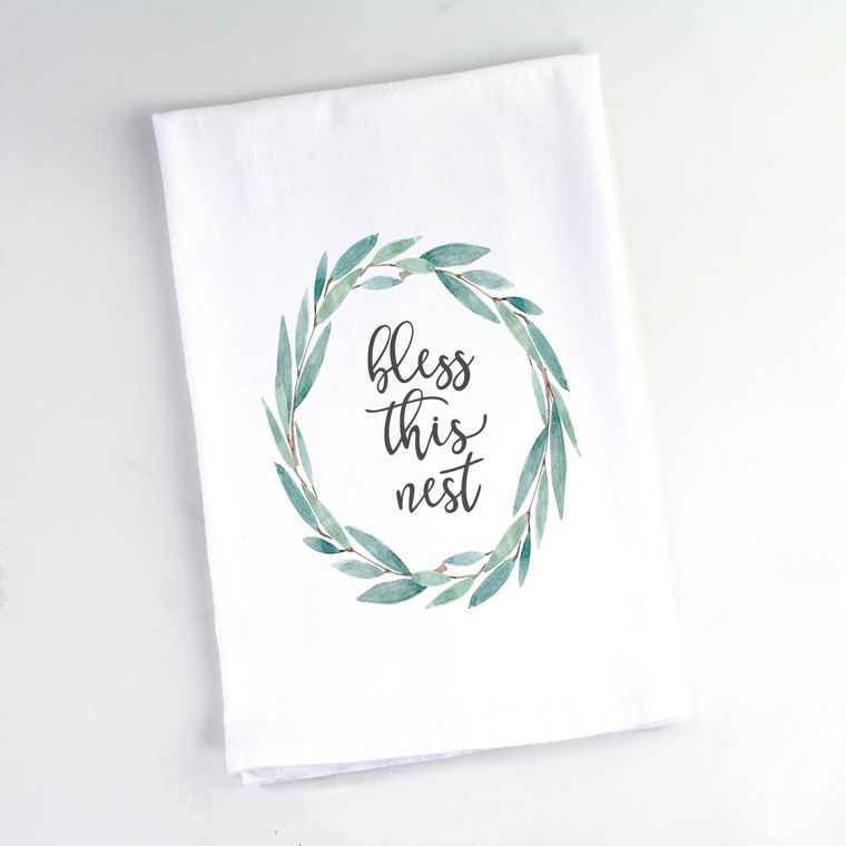 Oval Eucalyptus Wreath Bless This Nest Flour Sack Towel