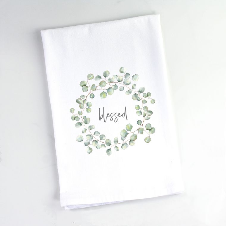 Silver Dollar Eucalyptus Wreath Flour Sack Towel Blessed