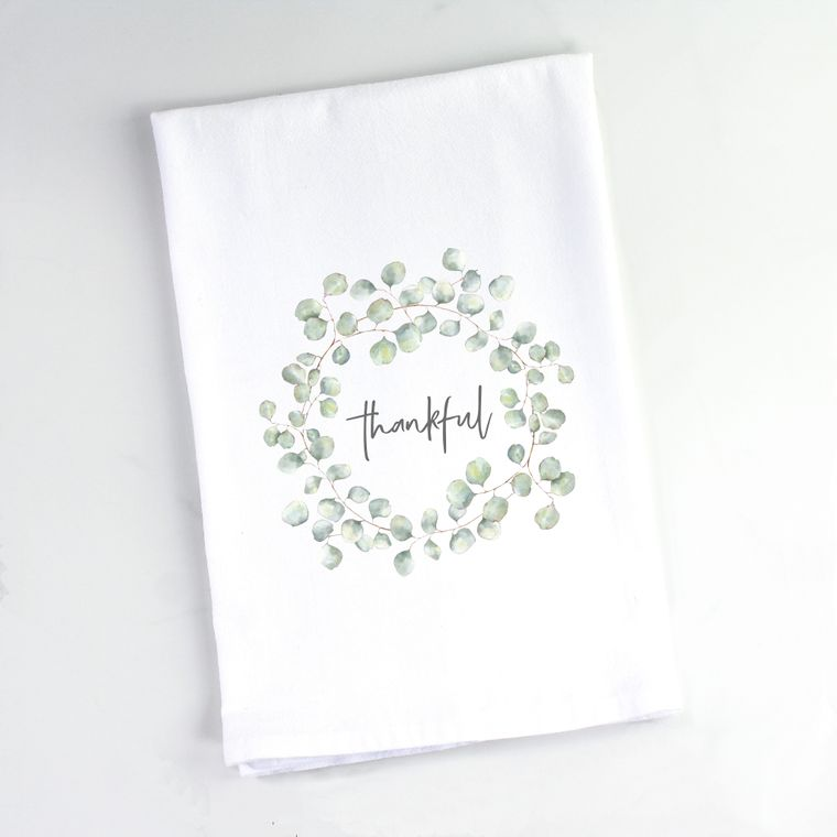 Silver Dollar Eucalyptus Wreath Flour Sack Towel Thankful