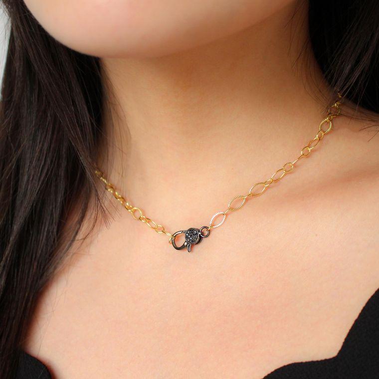 Golden Clasp Necklace-Gun Metal