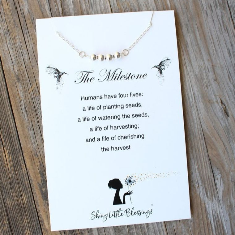 Milestone Necklace - 40th 50th 60th Birthday Gift - Sweet Sixteen Gift - Silver Bead Necklace 925 St