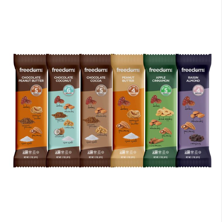 Freedom Bar Variety Case - 1 Box of each Flavor (15 Bars x 6 Boxes = Total 90 Bars)