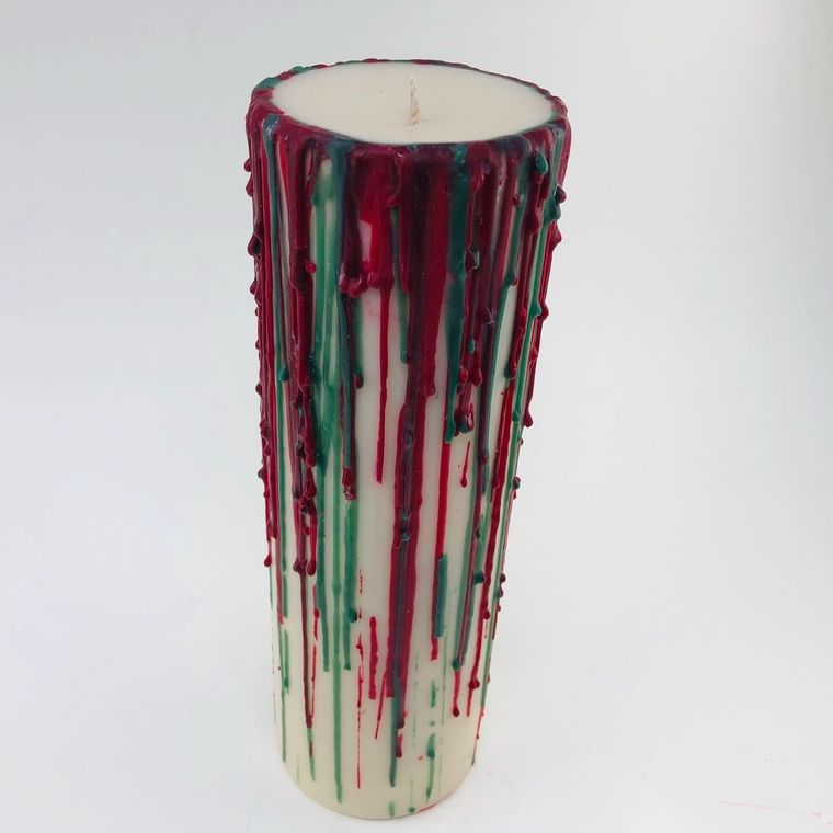 Scented pillar candle 3 x 9 papperrmint cocoa