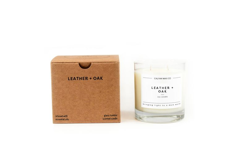 Glass Tumbler Soy Candle - Leather / Oak