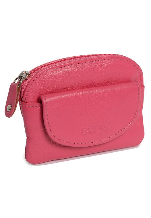 SADDLER Womens Nappa Leather Zipper Coins & Key Purse with Front Flap Pocket