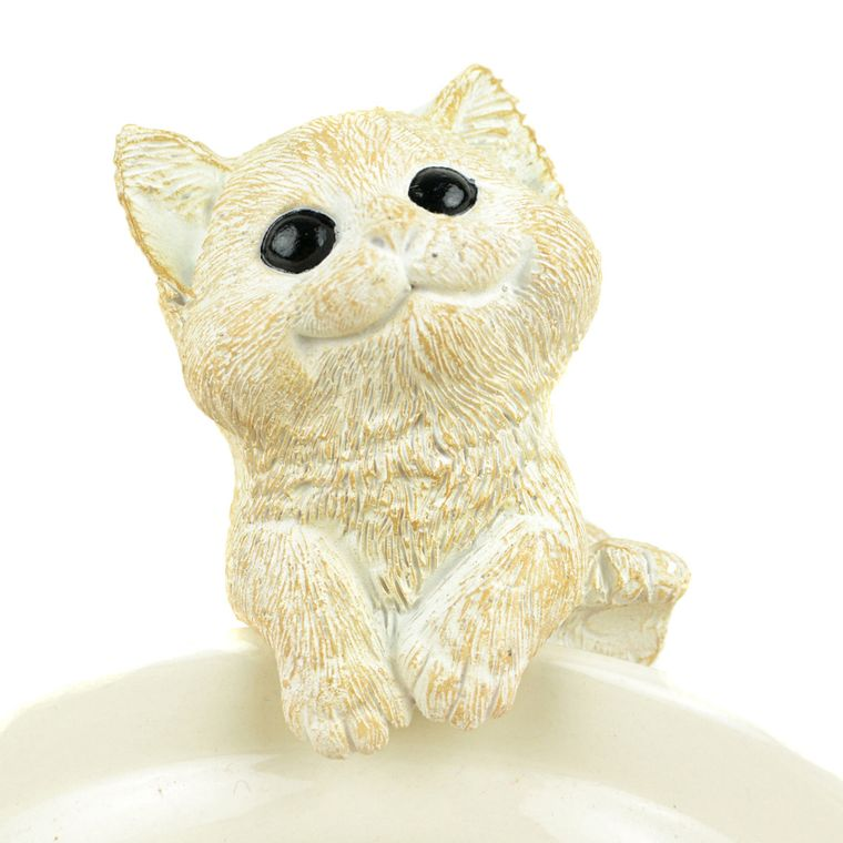 "Touch of Nature 3.5"" White Cat Garden Pot Hanger, 1pc"