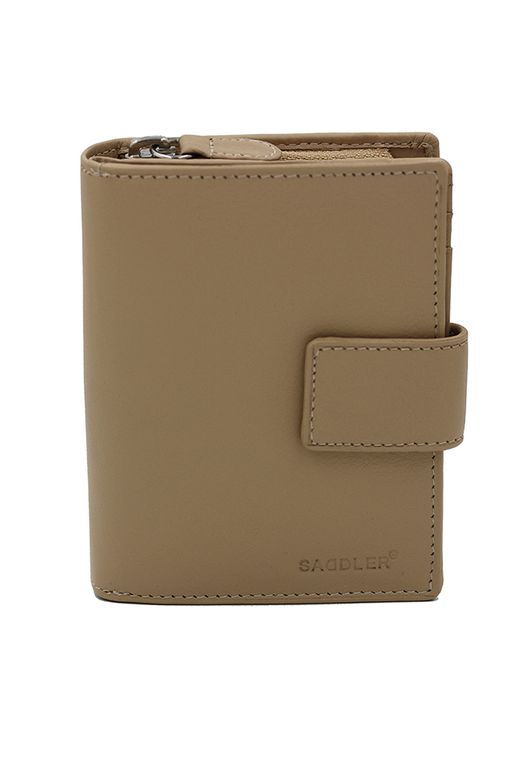 SADDLER Womens Real Leather Medium Bifold Tab Wallet With Zipper Coin Purse